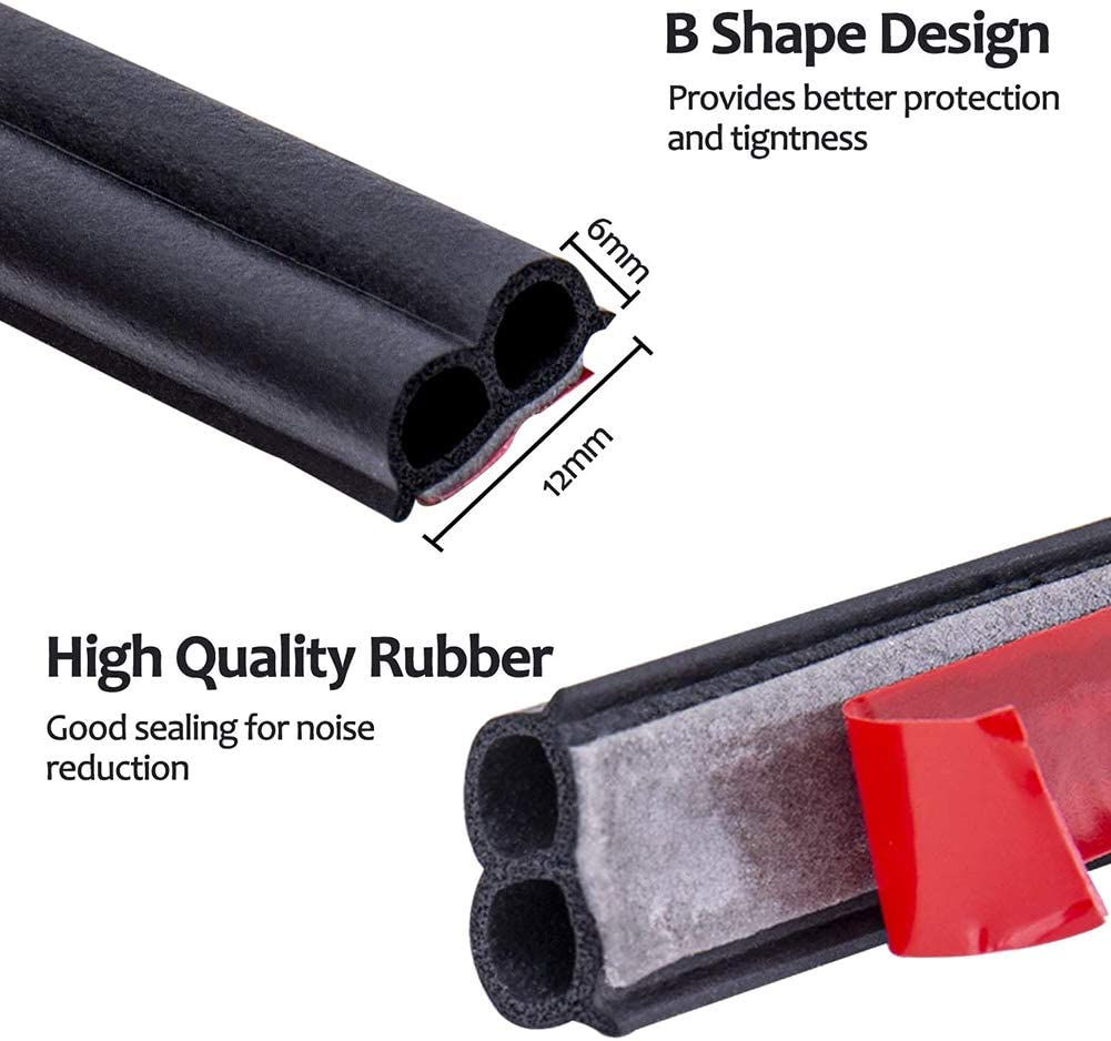 Car Door Seal Strip,Shape B 16.5 Ft Long,Universal Self Adhesive Rubber Draft Seal for Auto Window Engine Cover Soundproof