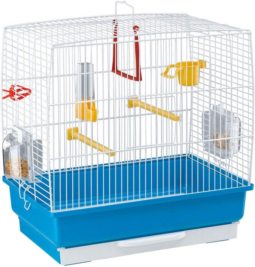 Ferplast Jaula Rectangular para pequeños pájaros exóticos y Canarios Rekord 2 con Accesorios y comederos giratorios, Alambre Pintado Blanco y cubeta de plástico Azul Celeste, 39 x 25 x h 41 cm