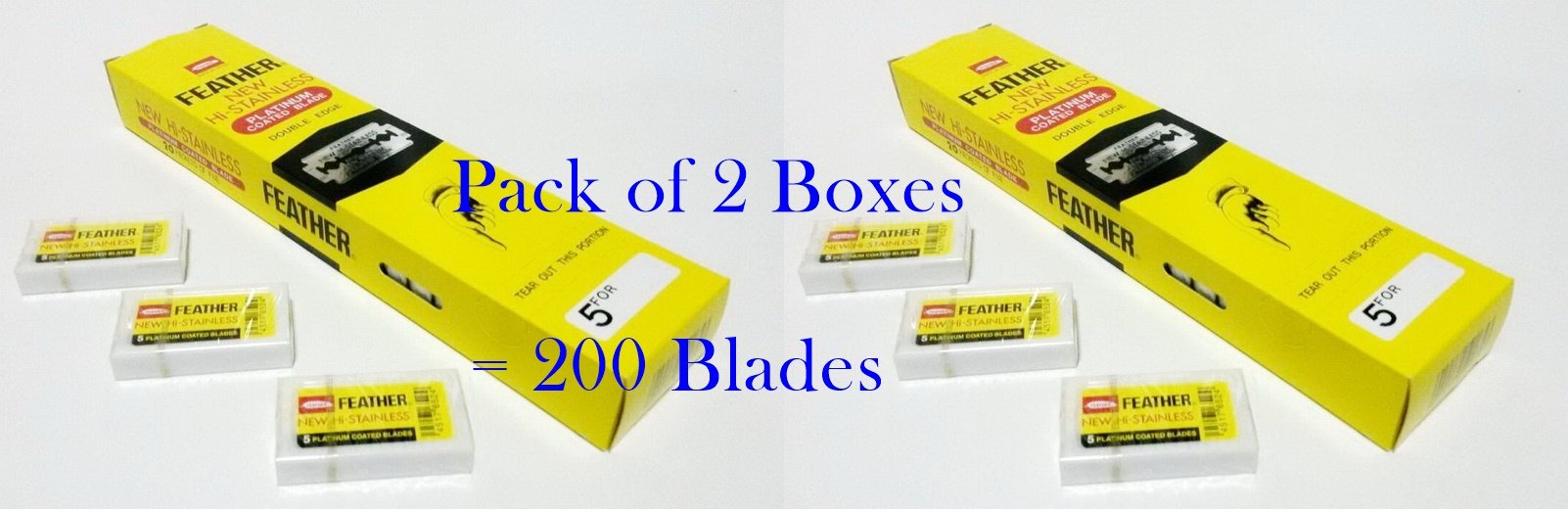 Pack of 2 Boxes (200 Blades) FEATHER Hi Stainless Platimum Coated Doubled Edge Razor Blades Yellow Box by mewinshop
