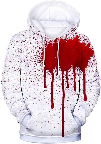 BOLANQ Halloween Mode Hommes & Femmes Sweat Tache De Sang Sweatshirt d'horreur De La Personnalité d'impression 3D à Capuche à Manches Longues Festival