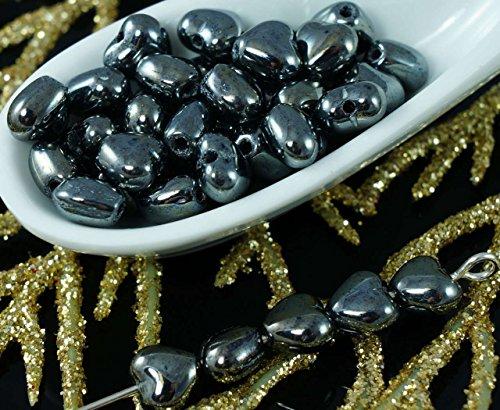 Metallic Hematite Czech Glass (Small Metallic Hematite Black Czech Glass Heart Beads Wedding Valentines Halloween 6mm 40pcs)