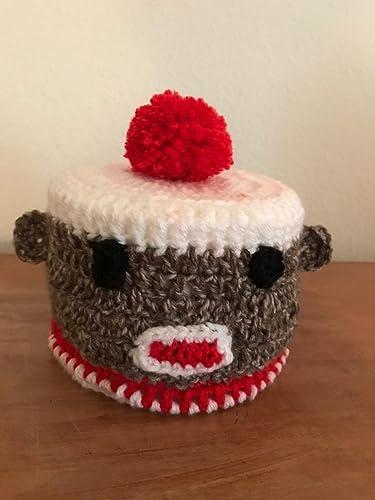 Amazoncom Handmade Crochet Sock Monkey Toilet Paper Holder Handmade