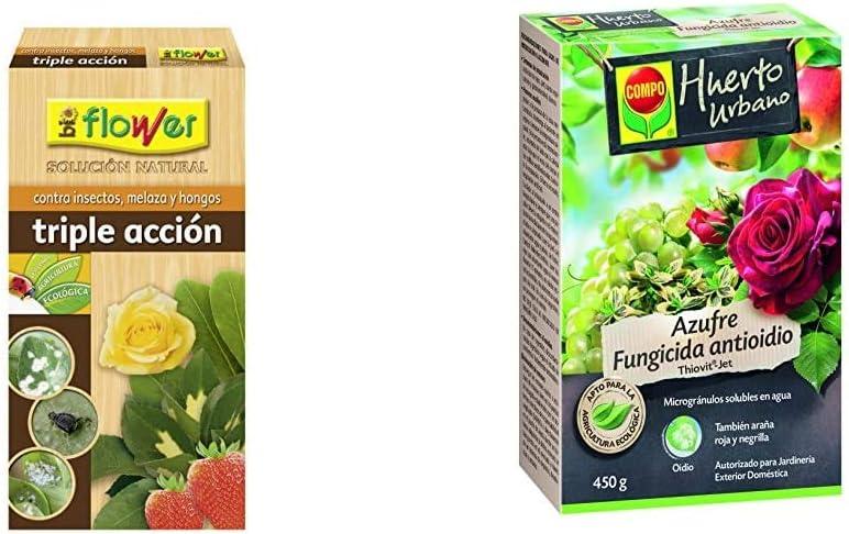 Flower 30587 30587-Triple acción ecológico Concentrado, No Aplica, 9.6x5.7x19 cm + Compo Azufre fungicida Anti oídio, Microgránulos solubles en Agua, para Plantas Ornamentales