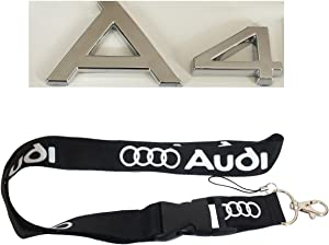 New 1pcs Audi Keychain Lanyard Badge Holder + Car Styling Emblem Decal Badge Back Sticker For AUDI A4