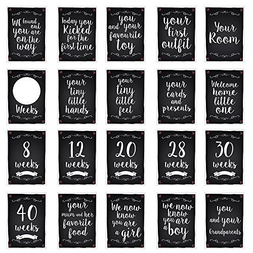 Pregnancy Reality Milestone Cards Funny Chalkboard Designs Baby Shower Gift