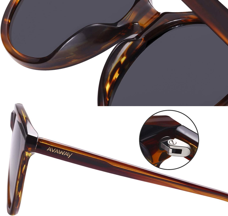 AVAWAY Vintage Polarized Sunglasses for Women UV Protection Stylish Acetate Frame