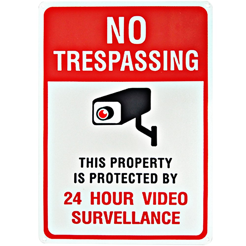 MiraCase No Trespassing Sign   Private Property is Protected Rust Free Aluminum Sign   Large Security Alert 24Hour Video Surveillance Warning Sign for Home Business Premises Legend 10 x 14