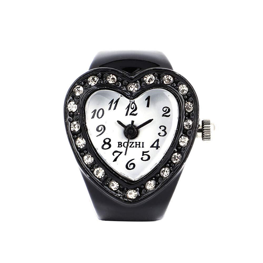 2019 Spring Deals!Fashion Women Watches Women Heart Ring Watch Watch Finger Table Elastic Quartz Watch,Outsta Bracelet Watch Birthday Gift Lover Gift Valentine's Day Present (Black)
