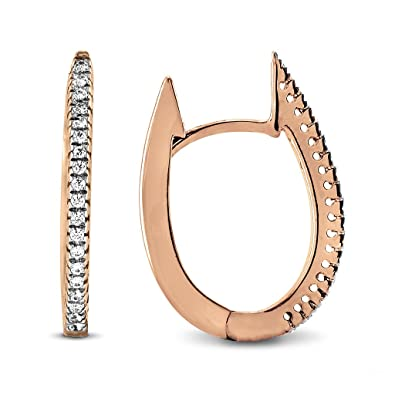 d791833bf659f Amazon.com  0.20 Ct. Natural Diamond Hoop Earrings 18K Rose Gold for ...