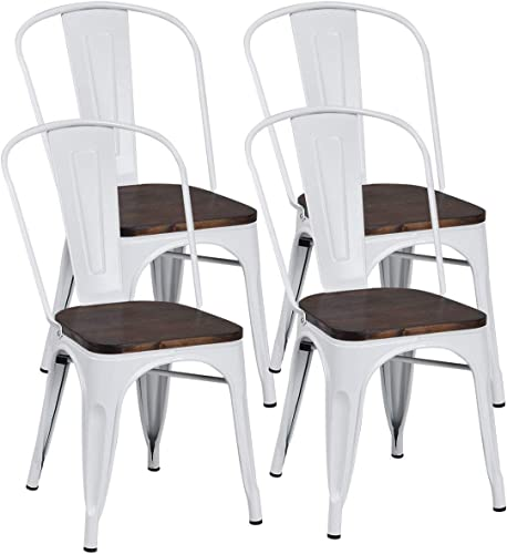 COSTWAY Tolix Style Dining Chairs Industrial Metal Stackable Cafe Side Chair w/Wood Seat Set of 4 White and Brown