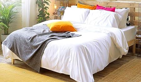 Third Living Juego de sábanas 100% algodón Egipcio de 500 Hilos, Juego de 4 Piezas de Lino de Hotel, Blanco, Suelto: Amazon.es: Hogar