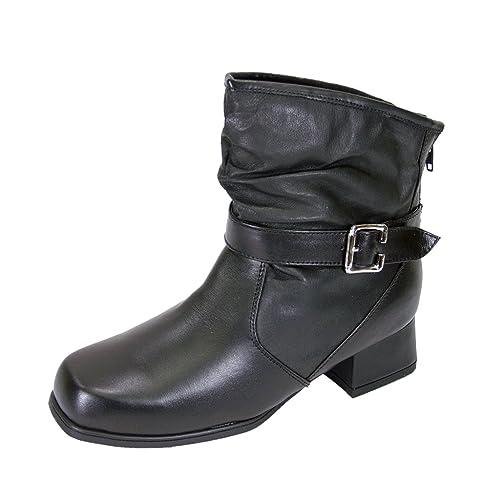 68dd85492dec Peerage FIC Jess Women Extra Wide Width Ankle Leather Boots Black 6