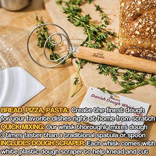 Danish Dough Whisk for Bread Making - Kitchen Grade Hand Mixer and Blender for Baking Cake, Dessert, Pizza, Pastry, Sourdough, Cooking - Stainless Steel Hook Wisk with Large Comfort Grip Wooden Handle by Bread Bosses (Image #7)