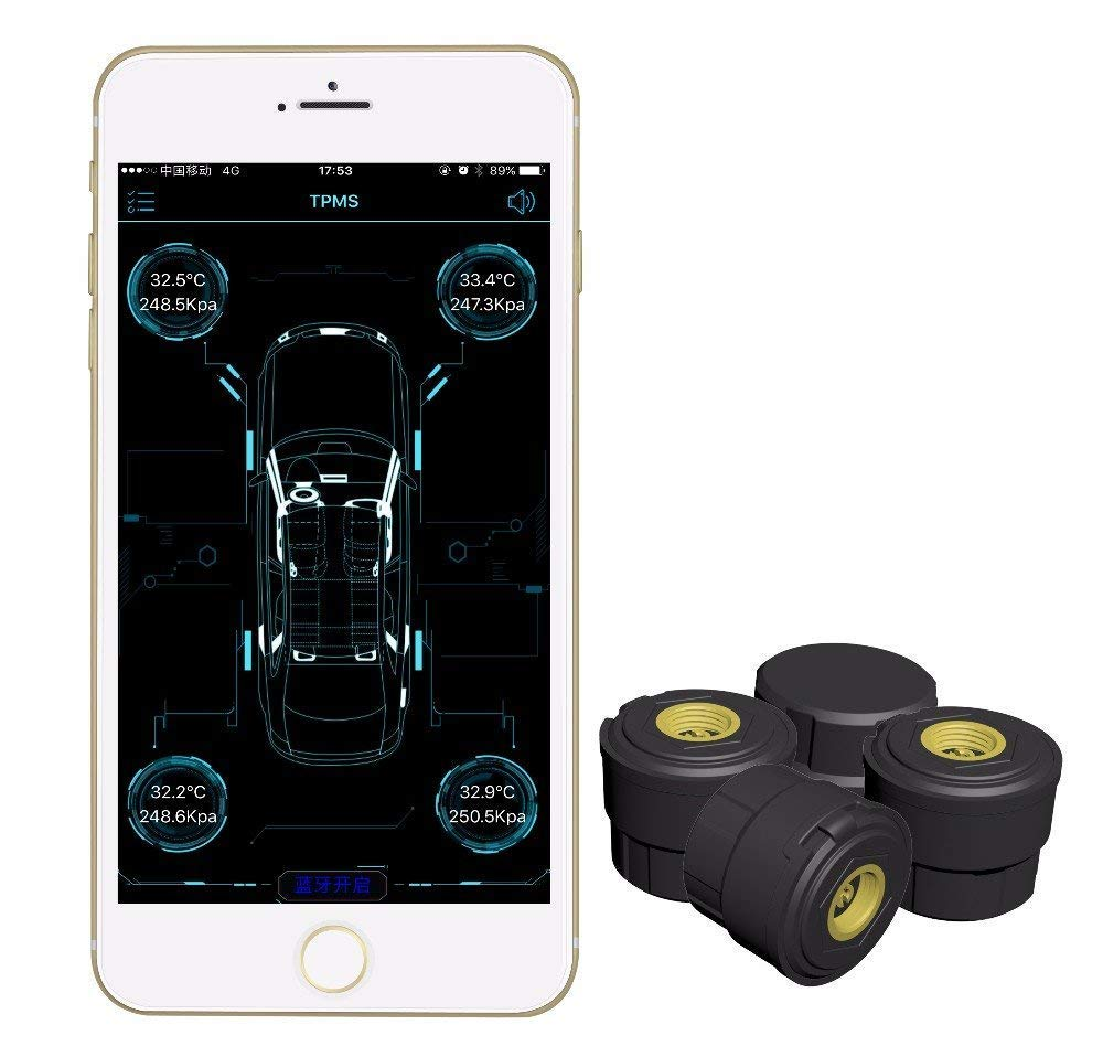 KDator with Repeaters BLE TPMS Auto Car Bluetooth 4.0 TPMS Tire Pressure Monitoring System with 4 External Sensors Alarm Warning by Bluetooth 4.0 for iPhone iOS Android Mobile Phone APP VC601C