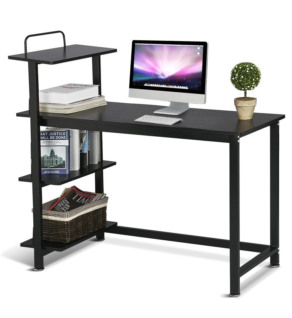 Yaheetech Wood Corner Computer Desk PC Laptop Table Workstation with 4 Tiers Shelves (Black)