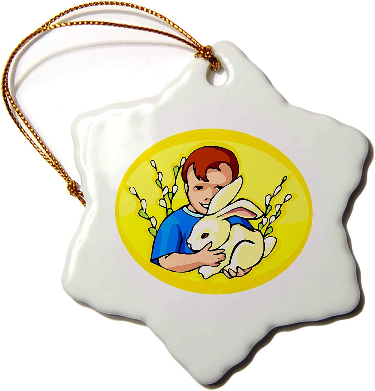 3dRose Susans Zoo Crew Holidays Easter - boy w Rabbit Yellow Oval - Ornaments (ORN_178213_1)