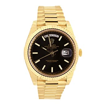 ff100bcb32d Image Unavailable. Image not available for. Color: Rolex Day-date 40 Black  Diagonal Motif Index Dial 418 ...