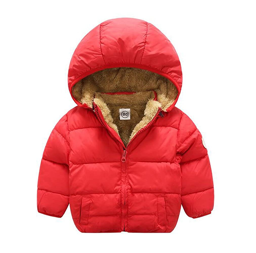 Baby Boys Girls Winter Puffer Coat Unisex Kids Fleece Lined Jacket Hoodies Warm Outwear Overcoat