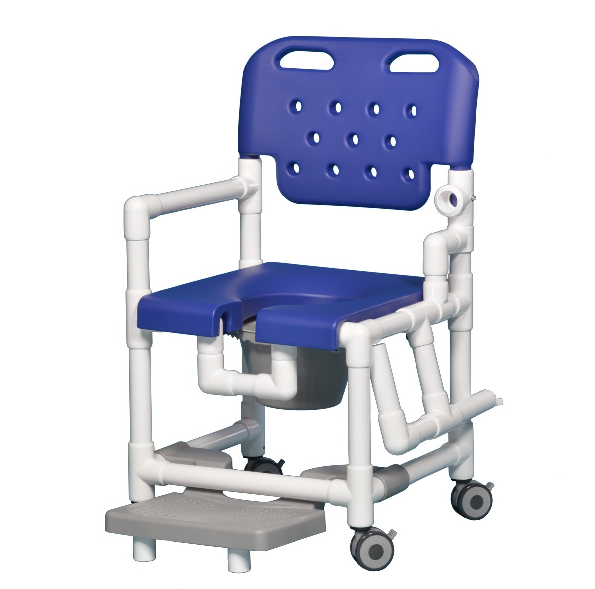 Innovative Products Unlimited ELT817 P FRLDA B Elite Shower Commode Chair with Footrest and Left Drop Arm, 21 lb