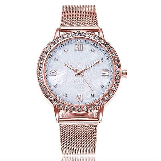 ZXMBIAO Reloj De Pulsera Reloj De Moda con Diamantes De Imitación para Mujer, para Mujer, Plata Y Oro Rosa Relojes De Malla, Oro Rosa: Amazon.es: Relojes