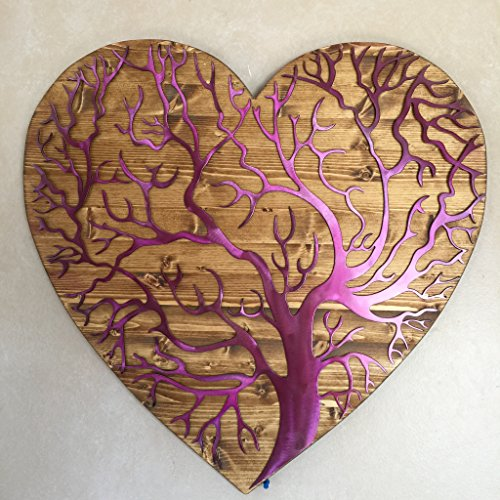 Metal Art of Wisconsin Hand Oiled Pine Mounted Heart Tree of Life