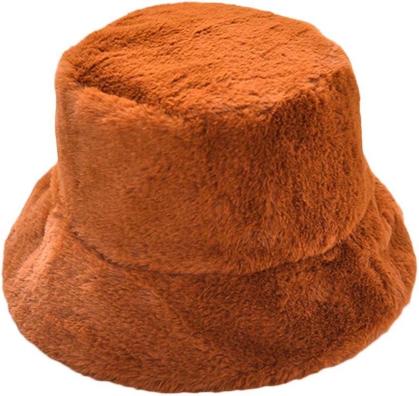 Bord Large pour lhiver Couleur Unie en Peluche mnoMINI Chapeau de p/êcheur pour Femme