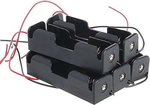 ESden - Caja de Soporte para batería Recargable 18650 de 3,7 V con Cable de Alambre (5 Unidades): Amazon.es: Electrónica