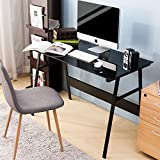 LIFE CARVER 8 MM Tempered Glass Computer Desk Simple Style Steel Frame PC Laptop Table for Home and Office Use