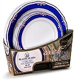 cobalt blue kitchen ware - Laura Stein Designer Tableware Cobalt Blue Series Hot Stamp Combo Plastic Disposable Plates Sets (32 Piece Set (16 Sets), Blue & Rose Gold)