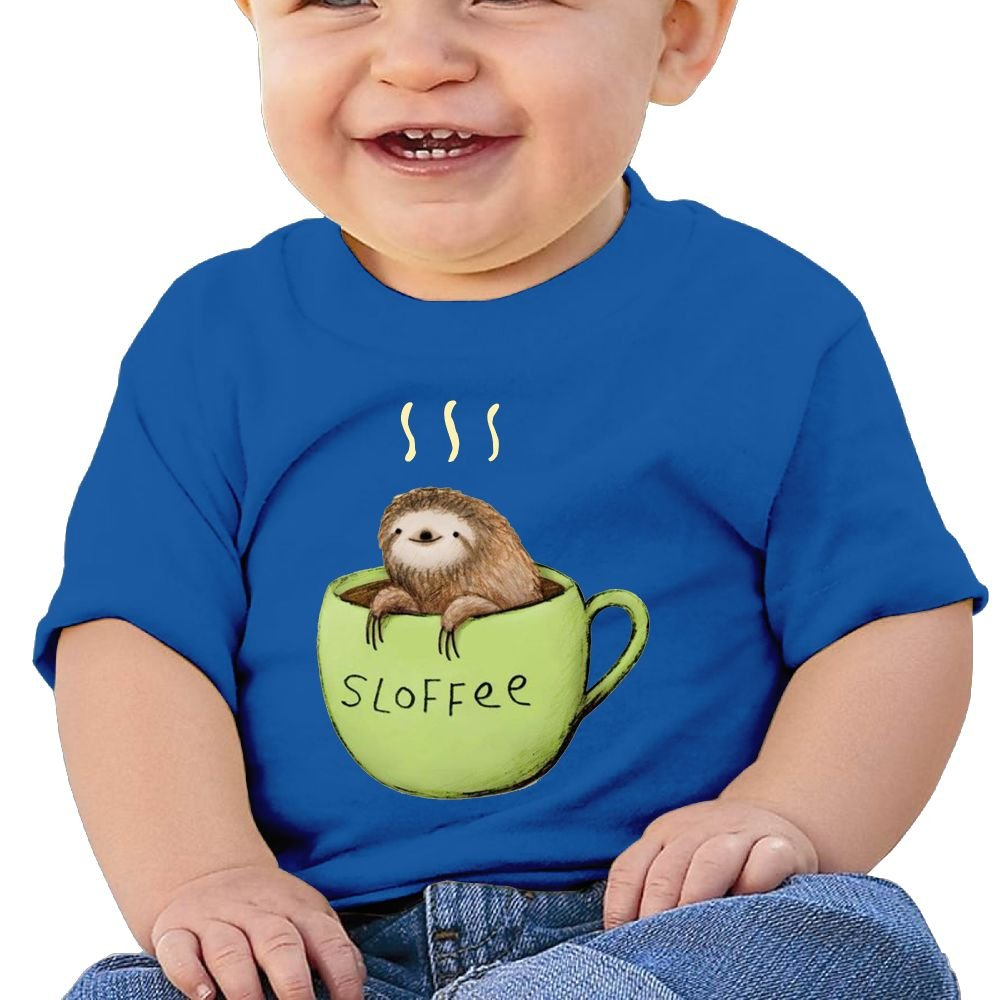 REBELN Sloth Coffee Cotton Short Sleeve T Shirts for Baby Toddler Infant