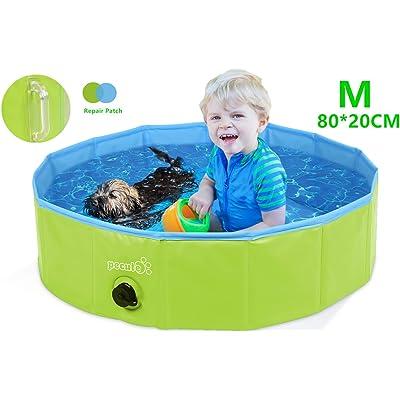 Pecute Piscina Perros y Gatos Bañera Plegable PVC Antideslizante y Resistente al Desgaste, Adecuado para Interior Exterior al Aire (M 80 * 20CM, Verde)