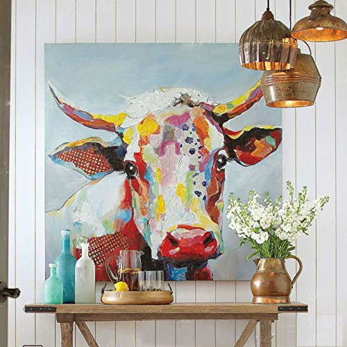 Handmade Colorful Cow Art Animals Pictures Graffiti Texture Palette Knife 3D Oil Paintings Canvas Wall Art for Bedroom Living room Wall Decor Contemporary Art Work Wooden Framed 24''x24'' by Faicai Art