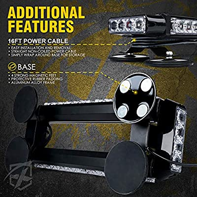 Xprite White Amber 14.5 Inch LED Emergency Strobe Light Bar, 21 Flash Modes Hazard Warning Beacon Lights with Magnetic Base for Construction Vehicles Tow Trucks Car Snow Plow Roof Safety: Automotive