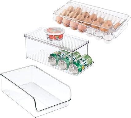 Contenedor de pl/ástico para los armarios de la cocina o la nevera Organizador de frigor/ífico alto para almacenar alimentos mDesign Juego de 4 cajas organizadoras con asas gris