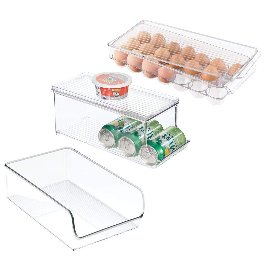 mDesign bac de rangement idéal pour le réfrigérateur (lot de 4) – 2 boîtes rangement, rangement épices et boîte à œufs avec couvercle – rangement frigo pratique en plastique – transpare