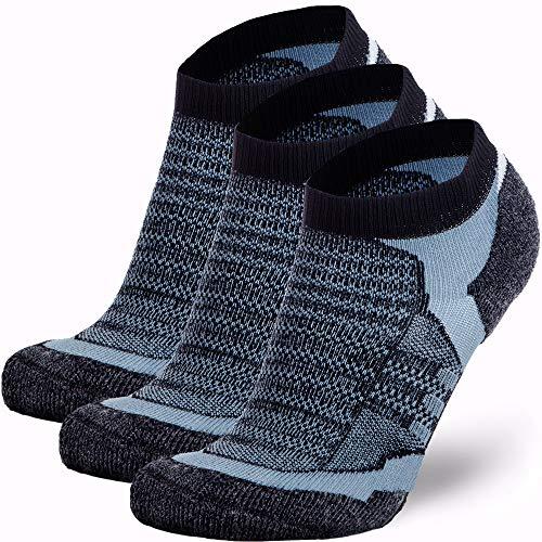 Low Cut Wool Running Socks - Cushioned Merino Wool Athletic Socks for Men and Women, Moisture Wicking (3 Pairs - Black/Grey, Large)