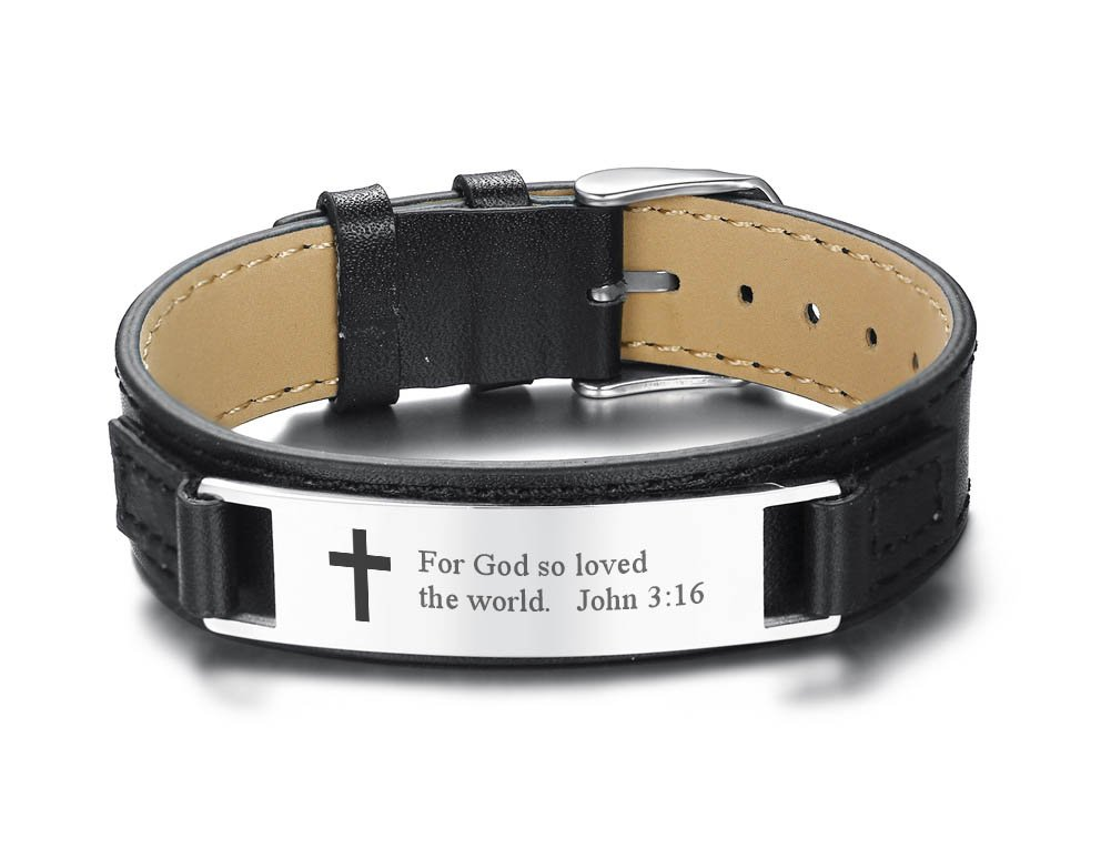 Adjustable Men's Leather Bracelets Engraved with Inspiring Bible Verse Quote,Christian Religious Jewelry Religious Gift Mealguet MG-BL-246-009