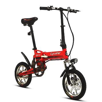 Cyrusher® XF600 Bicicleta Eléctrica Roja 240W 36V Bicicleta de Viaje Bicicleta Batería de Litio Bicicleta