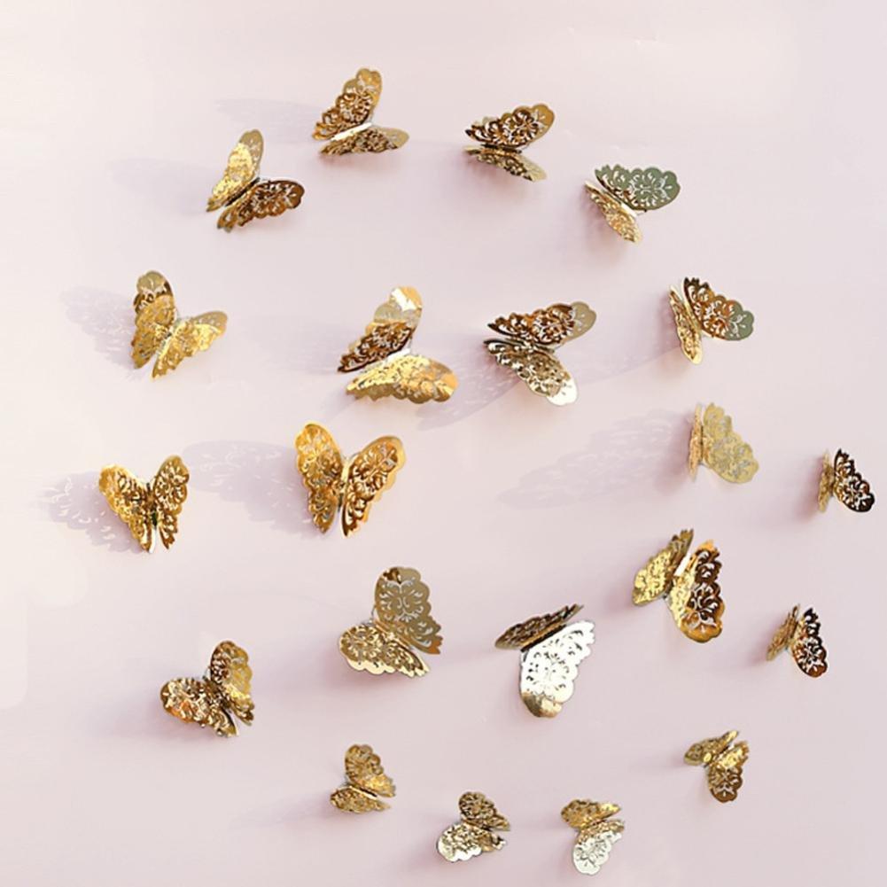 12 piezas de pegatinas de pared huecas 3D Nevera de mariposa para la decoración del hogar Nuevo para Pegatina Pared, Cristal, Puerta Xinantime (🎄A): ...