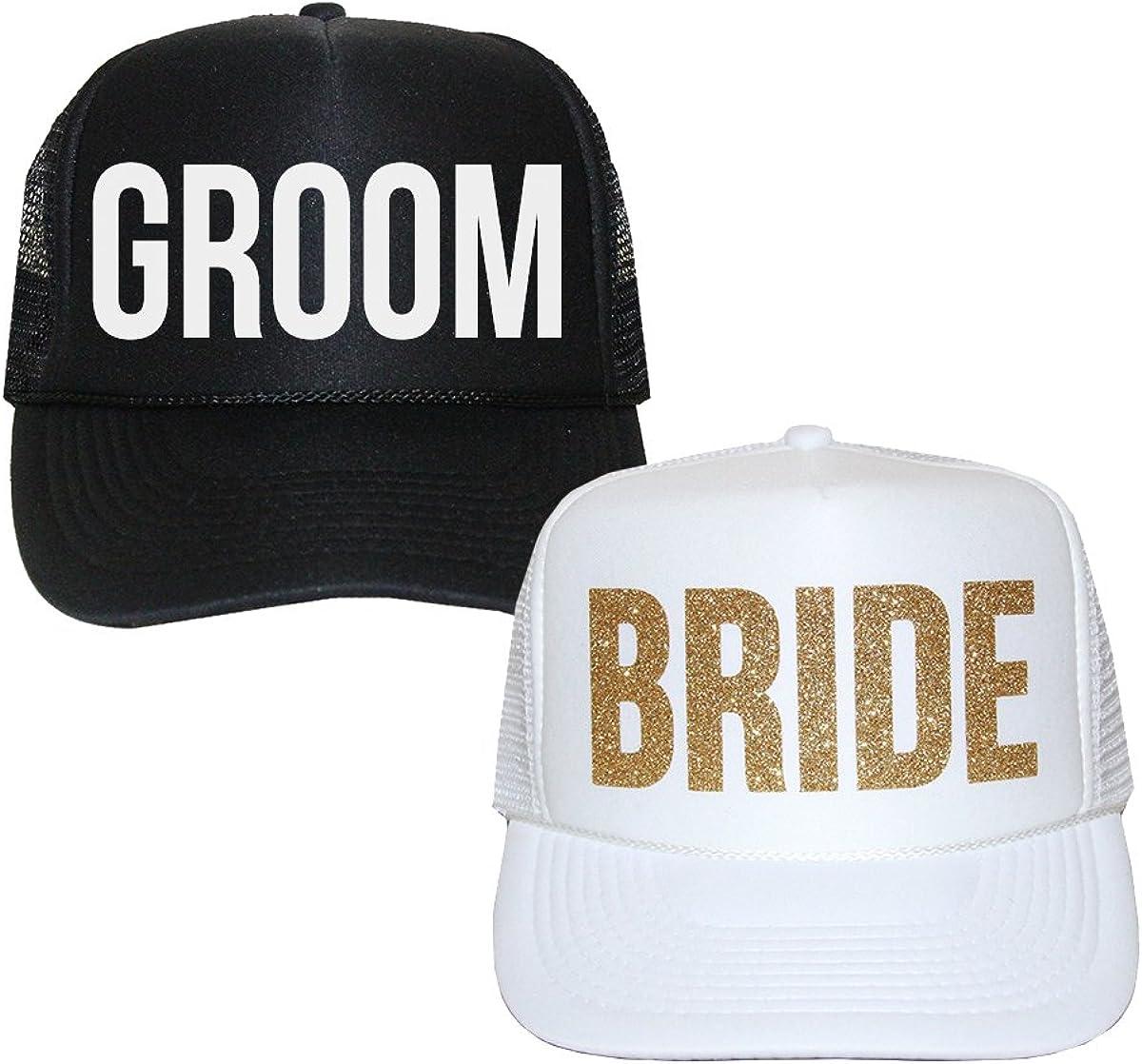 trucker cap wedding trucker hat Bride hat Newlywed hat JUST MARRIED Trucker hats Hats for the Bride Black /& Gold Bride trucker hat