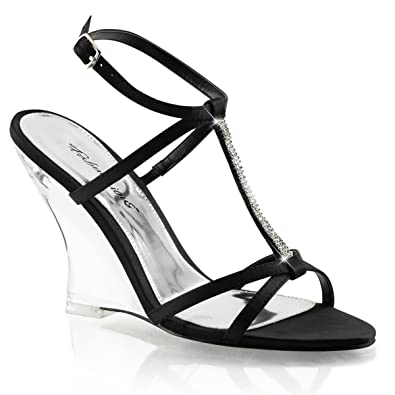 6e3a8327cd Summitfashions Womens Strappy Black Wedge Sandals Shoes with Rhinestones  and 4'' Clear Heels Size