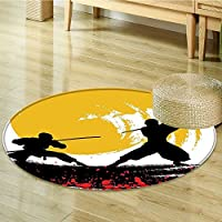 Area Silky Smooth Rugs Style Warrior Ninjas in the light Battle Red Black Yellow Home Decor Area Rug-Round 24
