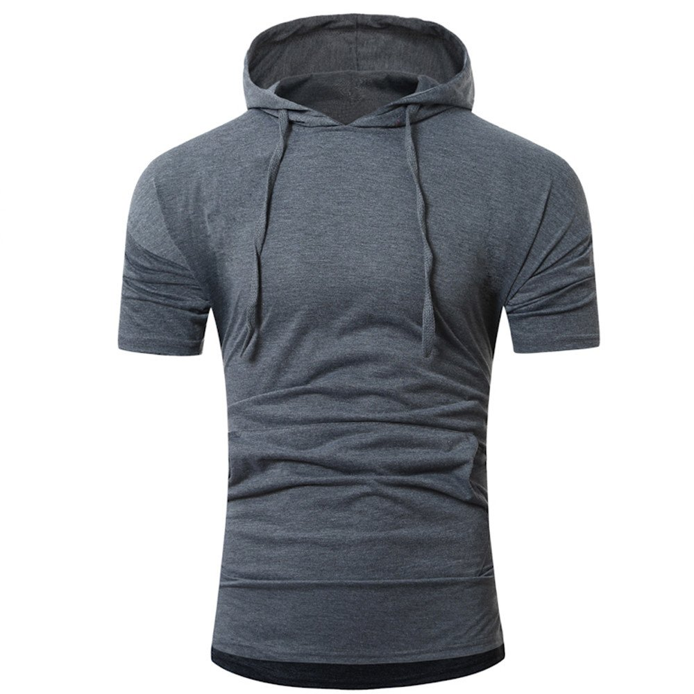 liuxuelifg3 Men Tops Summer Hooded Pullover Shirts Fashion Short-Sleeved O-Neck T-Shirt Solid Blouse Dark Gray