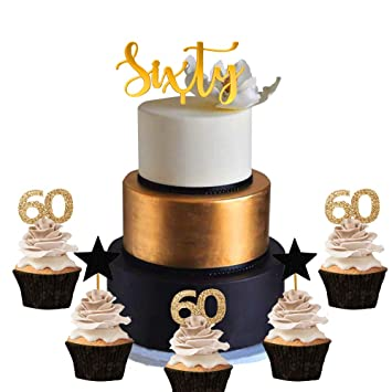 21 PCS JeVenis 60th Birthday Cake Topper Hello 60 Wedding Anniversary Party