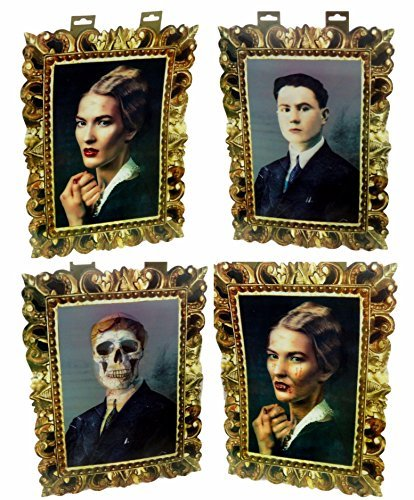 Set of 2 Holographic Picture Photo Scary Skeleton And Dreaded Vampire -Lenticular by GBI (Eerie Vintage Halloween Photos)