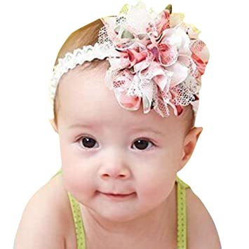 Image Unavailable. Image not available for. Color  Kids Baby Girls Flower  Headbands Cuekondy Newborn Infant Toddler Elastic Lace Weave Hairband  Headwear ... 7dbed770a0c0