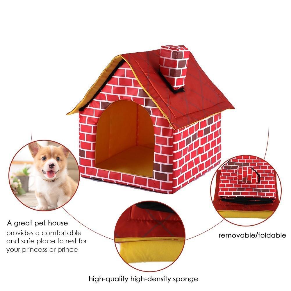 CampHiking Casa de Gato para Perro/Mascota, Cama Individual/caseta, Tienda de campaña, Desmontable, Lavable, Color Rojo ladrillo Chimenea casa: Amazon.es: ...