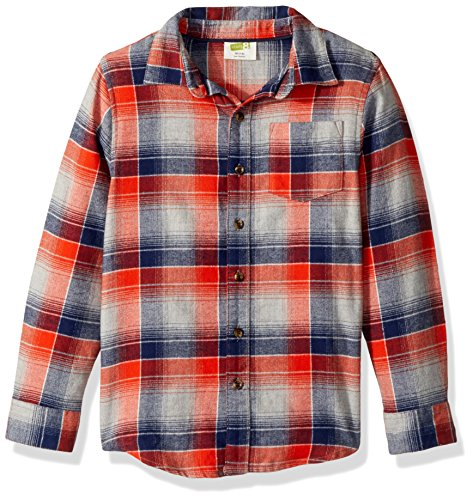 Long Kids Flannel Sleeve (Crazy 8 Little Boys' Long Sleeve Flannel Shirt Plaid, Blue/Orange Flannel, S)