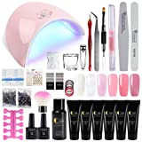 Saint-Acior 36W LED UV Nail Dryer Curing Lamp and 6Pcs Poly Nail Gel Top And Base Coat Kit Nail Extension False Nail Tips Kit (Color: 6Pcs poly gel kit)