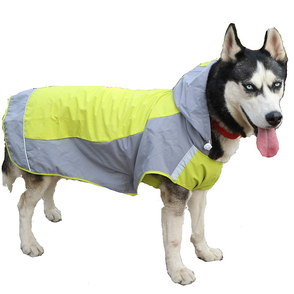 Green X-Large Green X-Large Dog Waterproof Jacket,Fashion Pet Dog Raincoat Safety Reflective Strip Design Outer Jacket Fabric Traction Hole Design can Connected Traction Belt,Green,XL